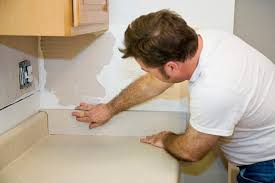 flush countertops to the wall to make it solid