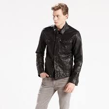 levi s black buffalo leather the trucker jacket men s jackets larger image