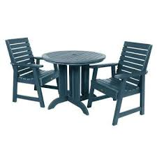 weatherly nantucket blue 3 piece recycled plastic round outdoor dining set