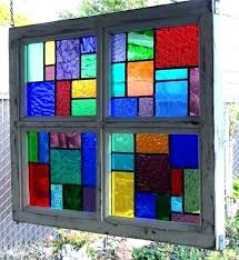 framed stained glass window panels multi color wood framed stained glass window by pane panels style