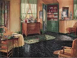High Quality 1920s Bedroom With Black Linoleum Floor.