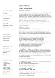 hotel receptionist CV sample, hospitality, how to write a CV, customer  service, CVs