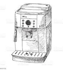Beyaz Arka Plan Üzerinde Izole Kahve Makinesi Vektör Çizim Bir Kroki Tarzı  Stok Vektör Sanatı & Beyaz'nin Daha Fazla Görseli - iStock