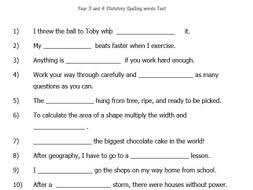 Word Test 3 Year 3 4 Statutory Word List Spelling Test With Contextual Sentences