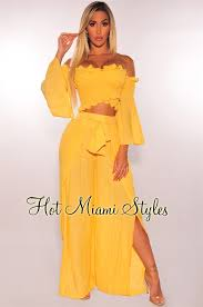 Honey Yellow Gauze Belted Slit Palazzo Pants