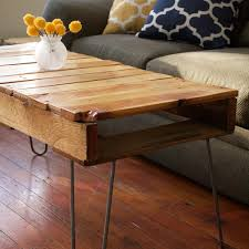 Furniture, Brown Rectangle Industrial Style Pallet Coffee Table DIY With  Hairpin Legs Designs To Decorate
