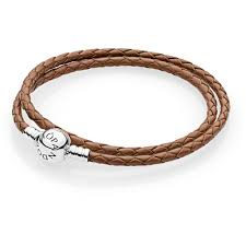 double round clasp brown leather bracelet