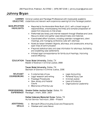 Paralegal Resume Samples Examples Career Objective Education Job