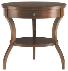 hickory white tiered round end table modern