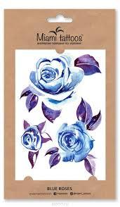 Miami Tattoos акварельные переводные тату Blue Roses 1 лист 10 см х 15 см