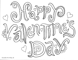 Free Valentines Day Text Coloring Page