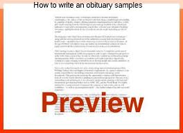 How To Write An Obituary Samples Coursework Help