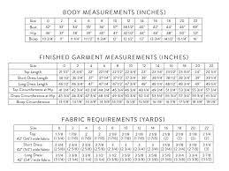 Shift Size Chart Shift Dress Top Sewing Pattern