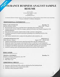 sample resume for business analyst insurance business analyst resume sample resume samples across all