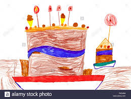 Big Cartoon Birthday Cake Childrens Drawing Stock Photo 86331888