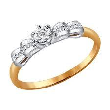 <b>Помолвочное кольцо</b> из комбинированного золота с ...