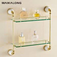 bathroom tempered glass shelf: bathroom accessories gold finish with tempered glassdouble glass shelf bathroom shelf