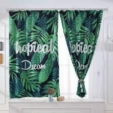 Image Blinds Dering Hall 08 1m 1pc Window Blackout Curtain Palm Leaf Pattern Home Office Decor Rod Pocket Drape Curtains