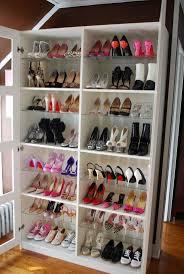 Furniture, Shoe Rack On Walk-In Closet Ideas: Shoe Closet With White Fiber