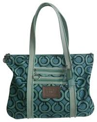 Coach Op Art Poppy 3d Outline Large Glam Purse 14983 Rare Tote in Blue White