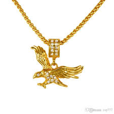 whole 2018 hip hop fashion design new vintage golden eagle pendant necklaces cool men women s animal hawk pendants golden necklaces handmade jewelry