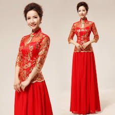 Mandarin Collar Gold Sequins Floral Embroidered Chinese Red Qipao