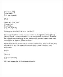 Sample Leave Request Letter For Vacation
