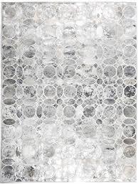 retro metallic silver modern leather area rug jpg