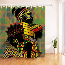Bathroom decor shower curtains Frilly Lb Tradition African Women Afro Girl Shower Curtain Waterproof Bathroom Decor Shower Curtains Polyester Fabric Curtains For Bath Philly Art Expo Lb Tradition African Women Afro Girl Shower Curtain Waterproof