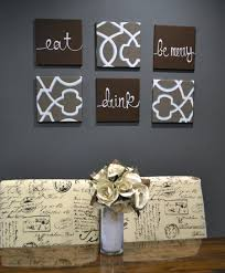 eat drink be merry wall art pack of 6 canvas wall hanging set hand painted canvas sign set dining room decor modern chic dark brown decor merry  on eat drink and be merry metal wall art with eat drink be merry wall art pack of 6 canvas wall hanging set hand