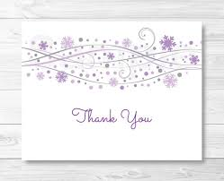 snowflake thank you cards purple snowflake thank you card folded card template snowflake