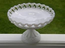 vintage fenton art milk glass backward c lacy pedestal cake stand plate compote 99 99