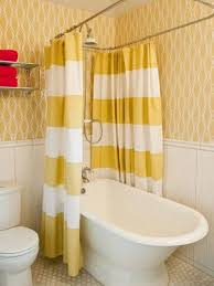 Unique Walls Yellow Striped Shower Curtain With Unique Walls And Shelf And Tub