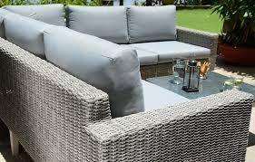 grey rattan designer garden corner sofa