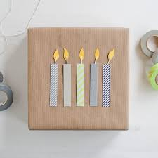 washi birthday candles DIY gift wrap idea - gift packaging paper craft idea  with washi tape