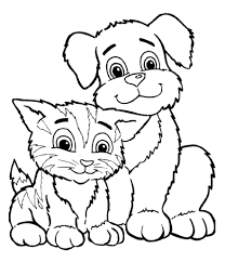 Puppy And Kitten Clipart Black And White - ClipartXtras