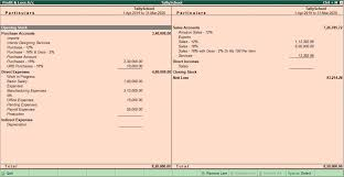 P And L Format Profit Loss Account In Tally With Profit Transfer To