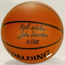 john wooden signed spalding basketball inscribed best wishes ucla with high