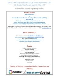 Ijritcc Call For Papers October 2016 Issue Citation In Google