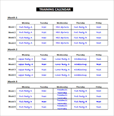 Exercise Schedule Training Calendar Template Pdf Workout Schedule