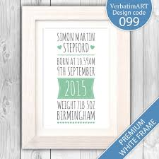 details about new baby gift personalised print naming day gift christening gift va099