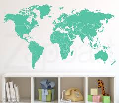 world map decal wall with countries borders