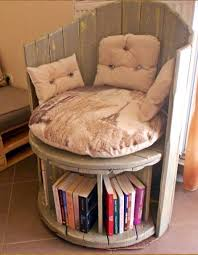 upcycled wooden cable spools reading chair