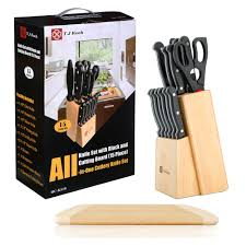 knife block sets stainless steel kitchen