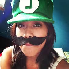 so here i am with my hat and mustache as luigi