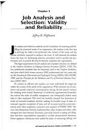 job analysis and selection validity and reliability ch effective  3