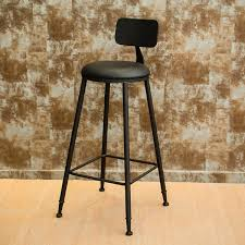 details about industrial bar stool rustic retro leather back counter chair cafe furniture 45cm