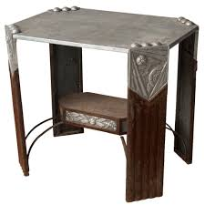 art deco outdoor furniture. french or belgian art deco aluminum and metal side table outdoor furniture