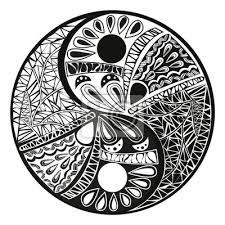 Fototapeta Yin Yang Tetování Na Výprava Ikonu Vektorové Ilustrace