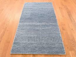 2 10 x6 hand knotted wool and silk grass design light blue runner rug cwr40920